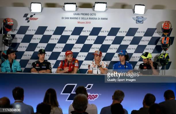 Lorenzo Dalla Porta of Italy and Leopard Racing, Maverick Vinales of Spain and Yamaha Factory Racing, Andrea Dovizioso of Italy and Ducati Team, Marc...
