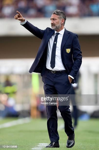 Lorenzo D'Anna head coach of AC ChievoVerona gestures during the Serie A football match between AC ChievoVerona and Juventus FC Juventus FC won 32...