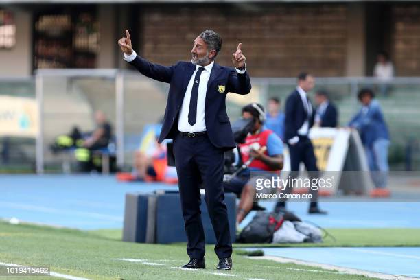 Lorenzo D'anna head coach of Chievo Verona gestures during match Chievo Verona and Juventus Fc