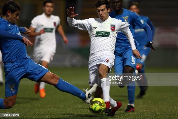 Lorenzo De Grazia of Teramo Calcio 1913 compete for the ball during the Lega Pro 17/18 group B match between Teramo Calcio 1913 and Alma Juventus...