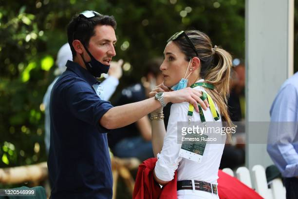 Lorenzo De Luca and Jessica Springsteen are seen during the CSIO Rome Piazza Di Siena International Equestrian Competition at Piazza Di Siena on May...