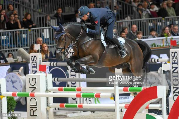 Lorenzo De Luca of Italy riding Ensor De Litrange Lxii during the Longines FEI Jumping World Cup Verona 2018 CSI5*W on October 28 2018 in Verona Italy