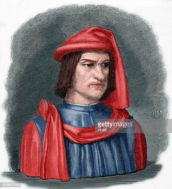 Lorenzo de Medici Ruler of the Florentine Republic Engraving in Universal History 1881 Colored
