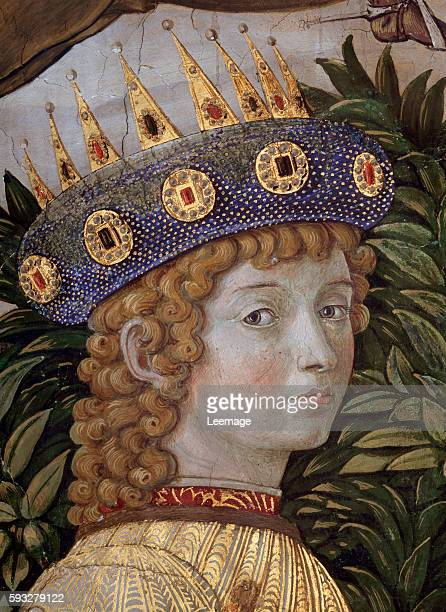 Lorenzo de' Medici the Magnificent as one of the Three Kings Detail of The Procession of the Magi by Benozzo Gozzoli c1460 fresco by Benozzo Gozzoli...