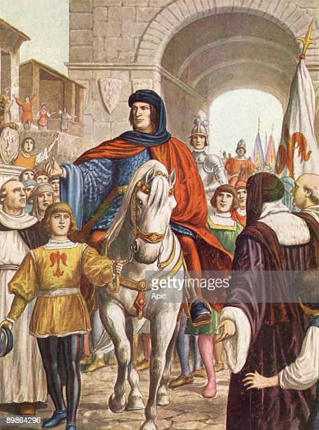 Lorenzo de Medici the Magnificent florentine prince welcomed by people in Florence after making peace with Naples illustration 30's