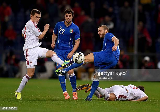 Lorenzo De Silvestri of Italy and Burim Kukeli of Albania compete for the ball during the International Friendly match between Italy and Albania at...