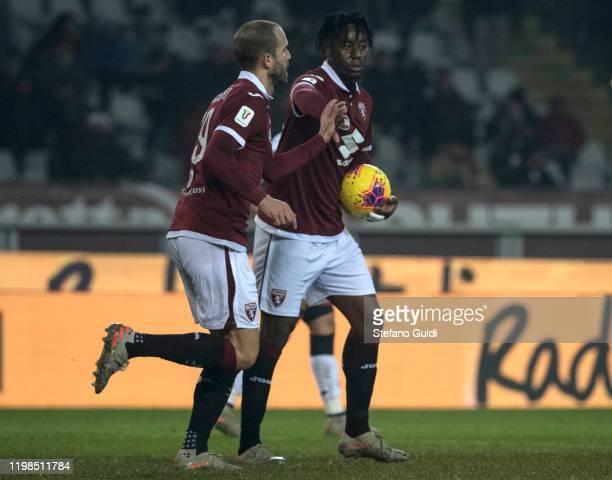 Lorenzo De Silvestri of Torino FC and Soualiho Meïté of Torino FC celebrates a goal during the Coppa Italia match between Torino FC and Genoa CFC at...
