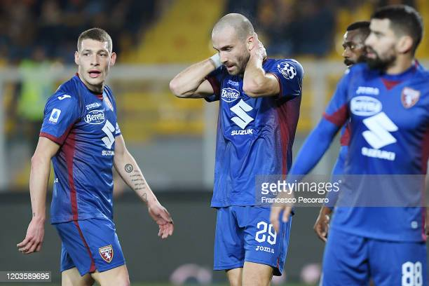 Lorenzo De Silvestri of Torino FC stands disappointed during the Serie A match between US Lecce and Torino FC at Stadio Via del Mare on February 02...