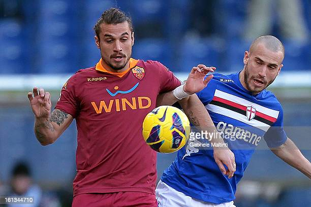 Lorenzo De Silvestri of UC Sampdoria fights for the ball with Pablo Osvaldo of AS Roma during the Serie A match between UC Sampdoria and AS Roma at...
