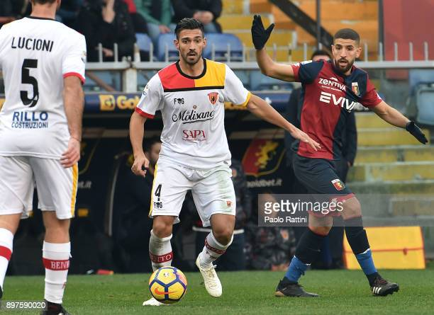 Lorenzo Del Pinto and Adel Taarabt during the serie A match between Genoa CFC and Benevento Calcio at Stadio Luigi Ferraris on December 23 2017 in...