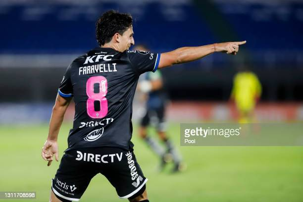 Lorenzo Faravelli of Independiente del Valle celebrates after scoring his team's first goal during a third round first leg match between...