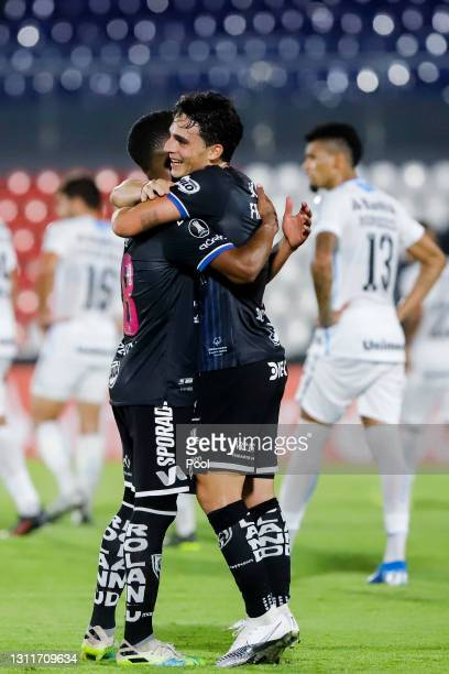 Lorenzo Faravelli of Independiente del Valle celebrates after scoring his team's second goal during a third round first leg match between...