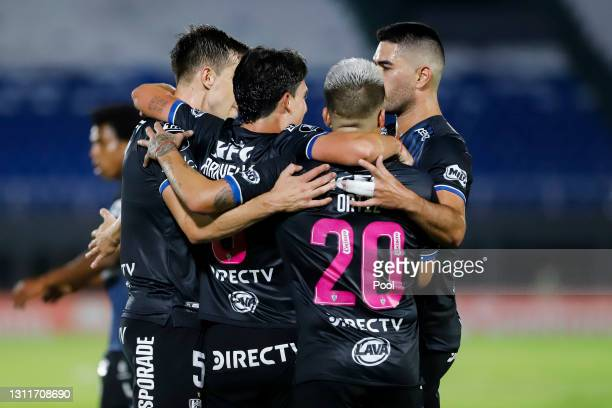 Lorenzo Faravelli of Independiente del Valle celebrates with teammates after scoring his team's first goal during a third round first leg match...