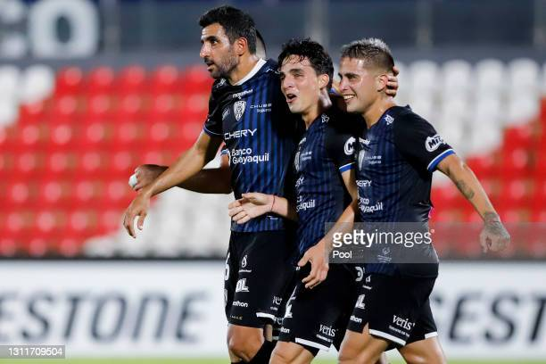 Lorenzo Faravelli of Independiente del Valle celebrates with teammates after scoring his team's second goal during a third round first leg match...
