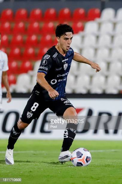 Lorenzo Faravelli of Independiente del Valle kicks the ball during a third round first leg match between Independiente del Valle and Gremio as part...