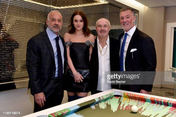 Lorenzo Fertitta Sophie Cannell Damien Hirst and Frank Fertitta III attend the The Empathy Suite designed by Damien Hirst unveiling at Palms Casino...