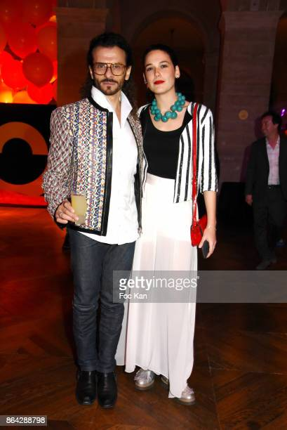 Lorenzo Fiaschi from Galleria Continua and Laura Salas Redondo attend the 'Bal Jaune Elastique 2017' Dinner Party at Palais Brongniart on October 20...