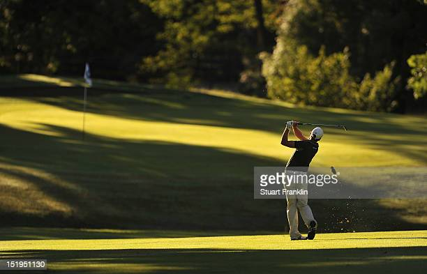Lorenzo Gagli of Italy plays a shot during the first round of the BMW Italian open at Royal Park Golf Country Club on September 13 2012 in Turin Italy