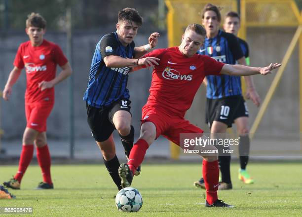 Lorenzo Gavioli of FC Internazionale competes for the ball during the UEFA Youth League Domestic Champions Path match between FC Internazionale and...