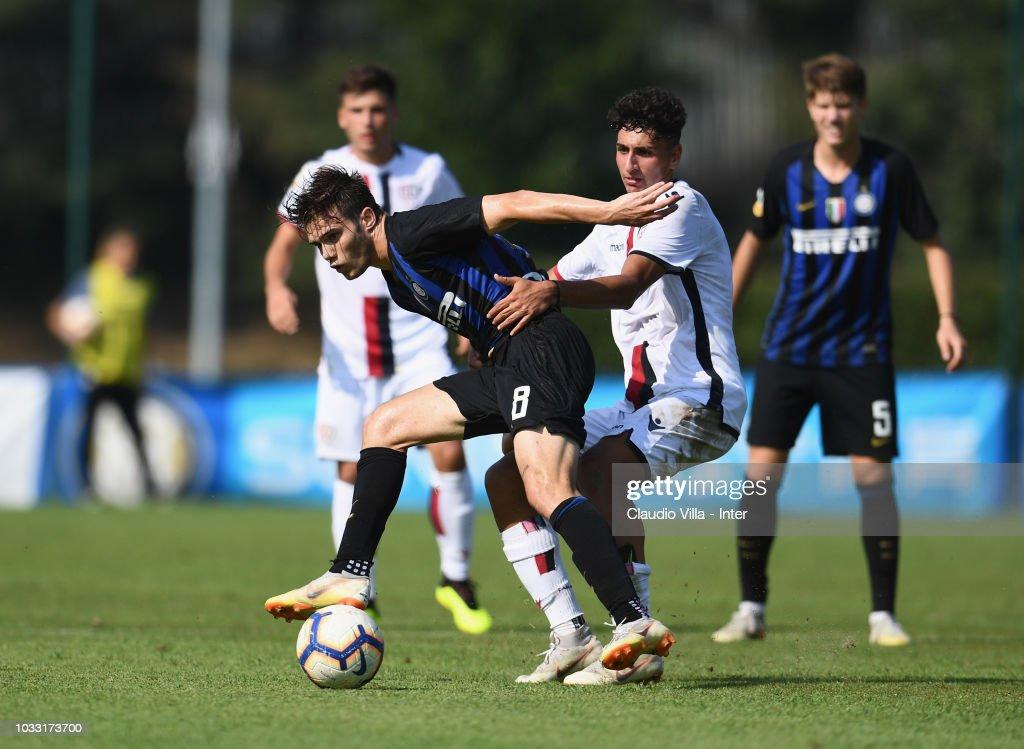 Lorenzo Gavioli of FC Internazionale in action during Fc internazionale U19 V Cagliari U19 match at Stadio Breda on September 14, 2018 in Sesto San Giovanni, Italy.
