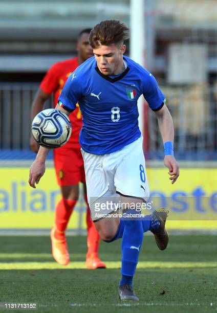 Lorenzo Gavioli of Italy U19 in action during the UEFA Elite Round match between Italy U19 and Belgium U19 at Stadio Euganeo on March 20 2019 in...