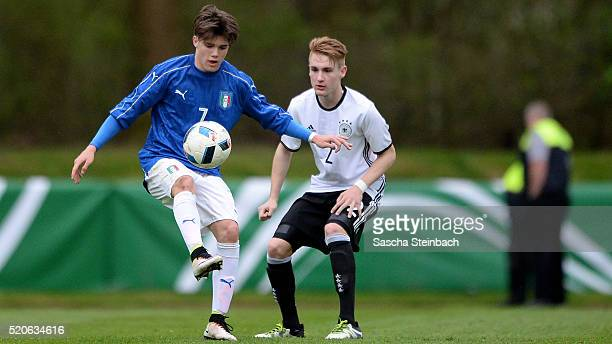 Lorenzo Gavioli of Italy vies with Jan Wellers of Germany during the U16 international friendly match between Germany and Italy at Stadion am...