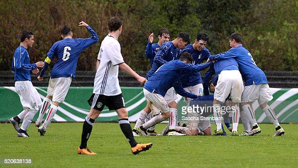 Lorenzo Giavoli of Italy celebrates with team mates after scoring his team's second goal during the U16 international friendly match between Germany...