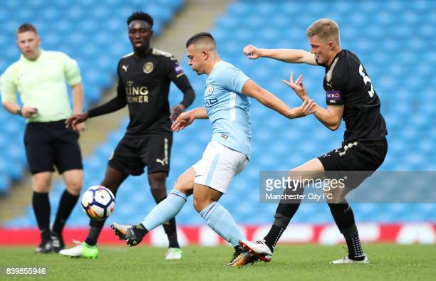 Lorenzo Gonzalez of Manchester City and josh Knight of Leicester City during the match between Manchester City and Leicester City in the Premier...