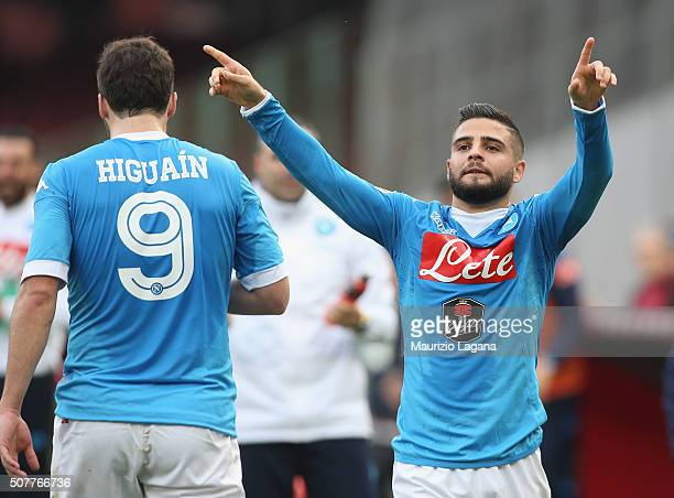 Lorenzo Insigen of Napoli celebrates his team's second goal during the Serie A match between SSC Napoli and Empoli FC at Stadio San Paolo on January...