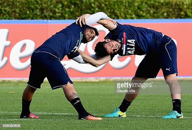 Lorenzo Insigne and Alessandro Florenzi of Italy in action during the Italy training session at the club's training ground at Coverciano on June 04...