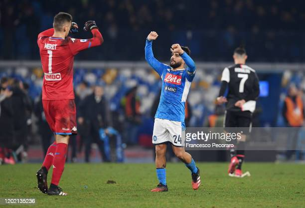 Lorenzo Insigne and Alex Meret of SSC Napoli celebrate the victory after the Serie A match between SSC Napoli and Juventus at Stadio San Paolo on...