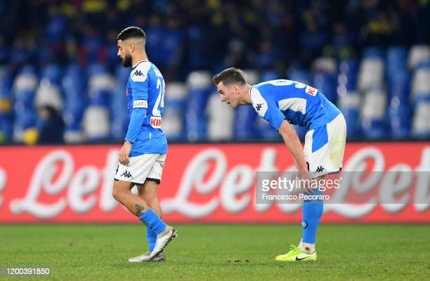 Lorenzo Insigne and Arkadiusz Milik of SSC Napoli stand disappointed after the Serie A match between SSC Napoli and ACF Fiorentina at Stadio San...