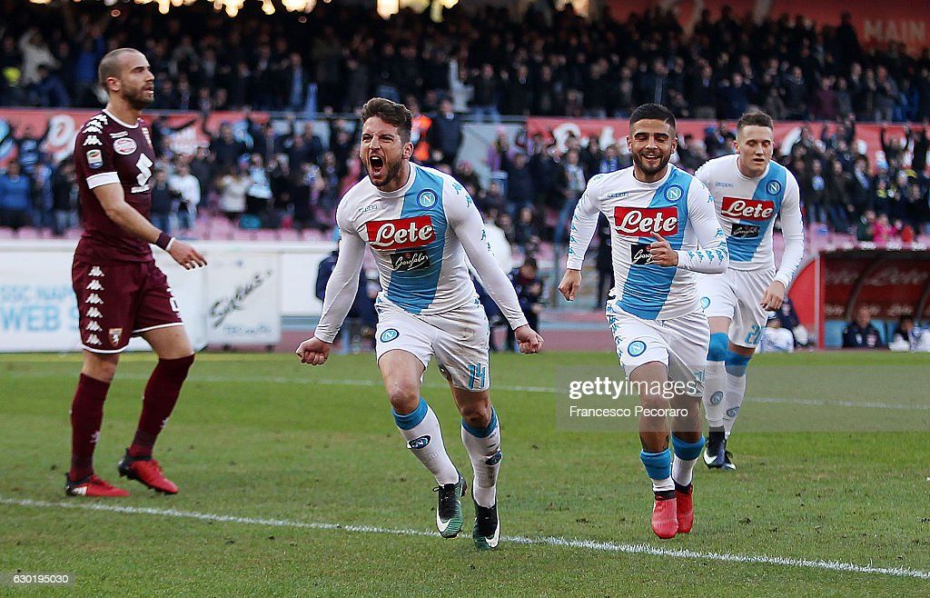 Lorenzo Insigne and Dries Mertens of SSC Napoli celebrate the 2-0 goal scored by Dries Mertens during the Serie A match between SSC Napoli and FC Torino at Stadio San Paolo on December 18, 2016 in Naples, Italy.