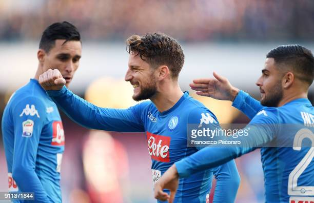 Lorenzo Insigne and Dries Mertens of SSC Napoli celebrate the 21 goal scored by Dries Mertens during the serie A match between SSC Napoli and Bologna...
