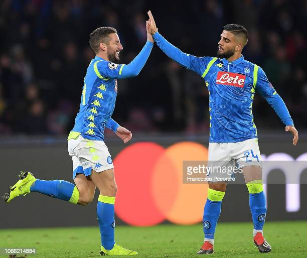 Lorenzo Insigne and Dries Mertens of SSC Napoli celebrate the 30 goal scored by Dries Mertens during the Group C match of the UEFA Champions League...