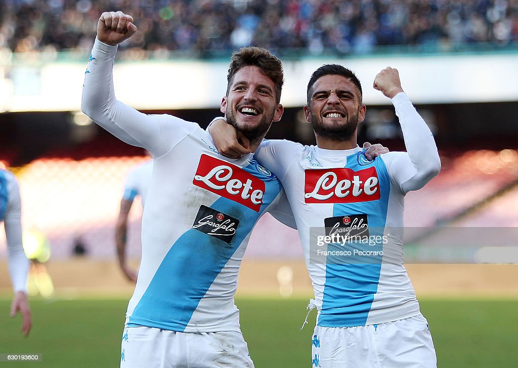Lorenzo Insigne and Dries Mertens of SSC Napoli celebrate the 3-0 goal scored by Dries Mertens during the Serie A match between SSC Napoli and FC Torino at Stadio San Paolo on December 18, 2016 in Naples, Italy.