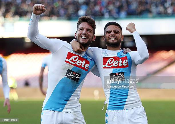 Lorenzo Insigne and Dries Mertens of SSC Napoli celebrate the 30 goal scored by Dries Mertens during the Serie A match between SSC Napoli and FC...