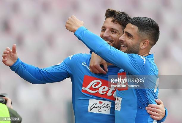 Lorenzo Insigne and Dries Mertens of SSC Napoli celebrate the 31 goal scored by Dries Mertens during the serie A match between SSC Napoli and Bologna...