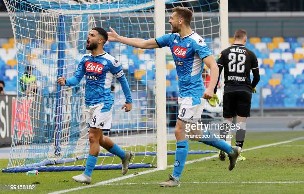 Lorenzo Insigne and Fernando Llorente of SSC Napoli celebrate the 1-0 goal scored by Lorenzo Insigne as Andrea Fulginati of Perugia looks dejected...