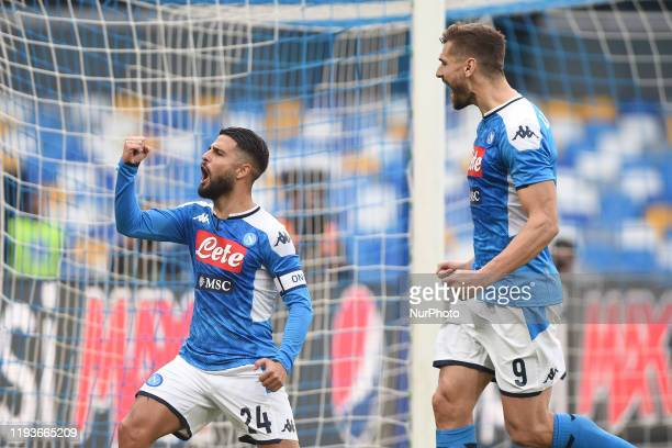 Lorenzo Insigne and Fernando Llorente of SSC Napoli celebrates after scoring during the Tim Cup match between SSC Napoli and AC Perugia at Stadio San...