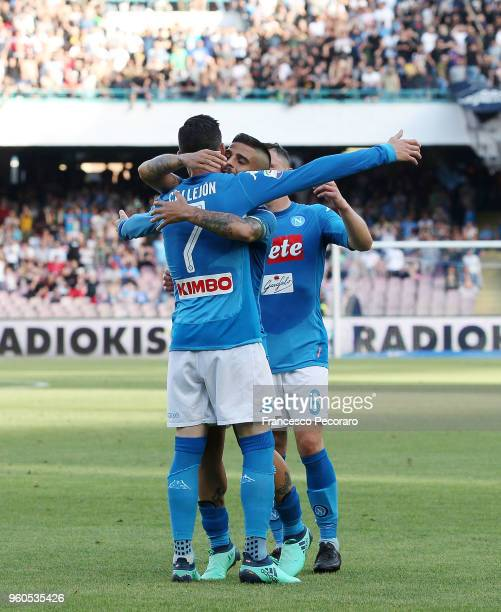 Lorenzo Insigne and Jose Callejon of SSC Napoli celebrate the 20 goal scored by Jose Callejon during the Serie A match between SSC Napoli and FC...