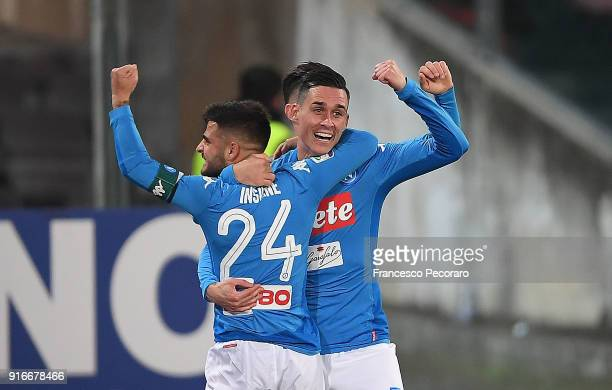 Lorenzo Insigne and Jose Callejon of SSC Napoli celebrate the 21 goal scored by Wallace during the serie A match between SSC Napoli and SS Lazio at...
