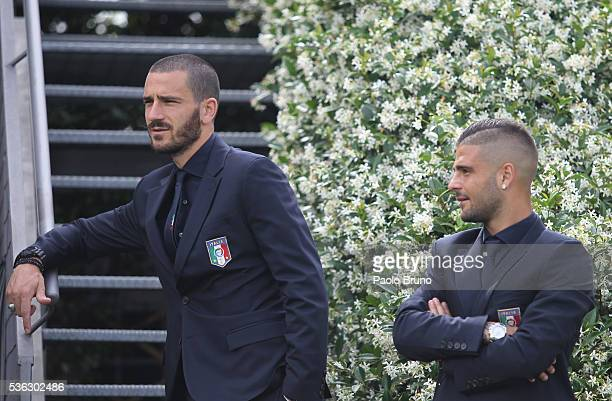 Lorenzo Insigne and Leonardo Bonucci of Italy pose for a team photo ahead of the UEFA Euro 2016 at Coverciano on June 1 2016 in Florence Italy