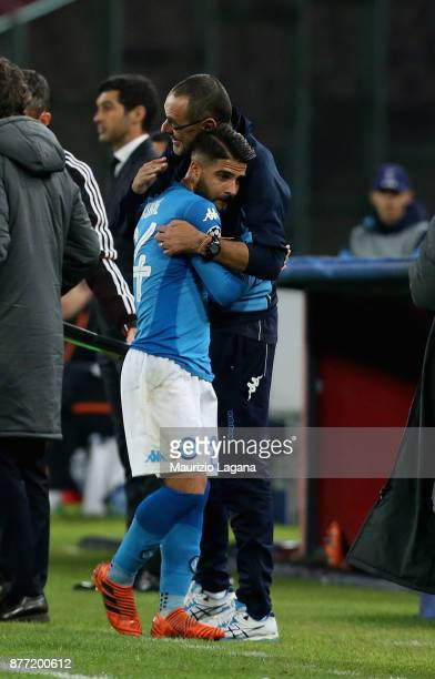 Lorenzo Insigne and Maurizio Sarri of Napoli celebrate during the UEFA Champions League group F match between SSC Napoli and Shakhtar Donetsk at...