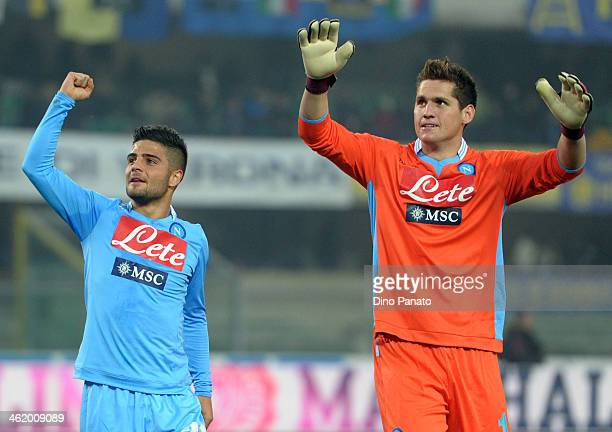 lorenzo Insigne and Rafael Cabral Barbosa goalkeeper of SSC Napoli celebrates victory after the Serie A match between Hellas Verona FC and SSC Napoli...