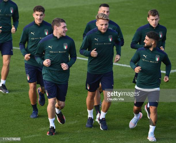 Lorenzo Insigne, Andrea Belotti and Ciro Immobile of Italy in action during an Italy training session at Centro Tecnico Federale di Coverciano on...