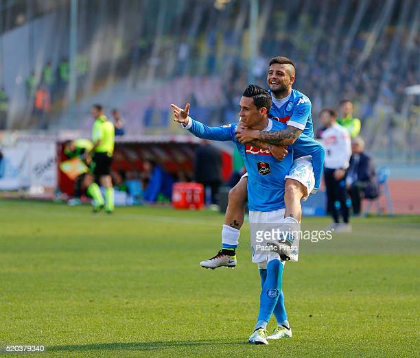 Lorenzo Insigne celebrates a goal with Josè Maria Callejon during the Serie A Match between SSC Napoli and Verona at San Paolo stadium. SSC Napoli...