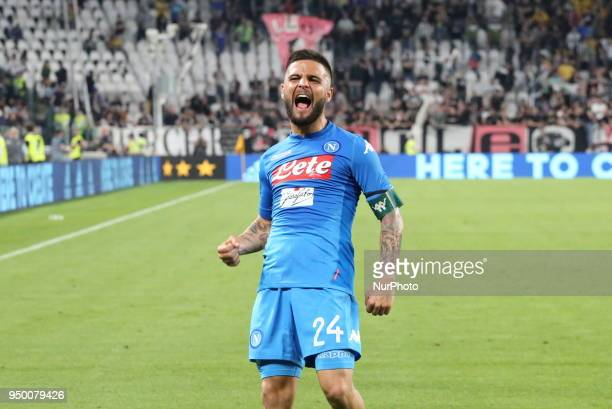Lorenzo Insigne celebrates the victory obtained against Juventus during the Serie A football match between Juventus FC and SSC Napoli at Allianz...