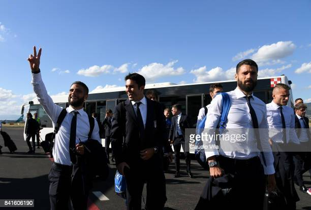 Lorenzo Insigne Citadin Martins Eder and Antonio Candreva of Italy depart to Madrid on September 1 2017 in Florence Italy