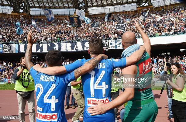 Lorenzo Insigne Dries Mertens and Pepe Reina players of SSC Napoli celebrate the victory after the Serie A match between SSC Napoli and Cagliari...